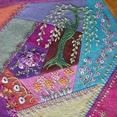 "I ❤ crazy quilting & ribbon embroidery . . . This is what Pam was working on... a hand-dyed wool, crazy-quilt block. With ""lavender, parsley, holly-hocks and queen Ann's lace."" I'm in love with it! ~By Pam Ehlers Stec"