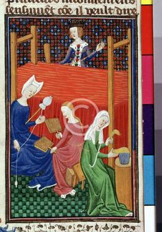 Women processing wool from a 15th century manuscript | VCH Explore