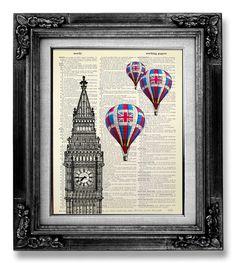 British Decor, London Print, London Decor, HOT AIR BALLOON Print on Dictionary Paper, London Wall Art Wall Decor, Big Ben Clock Art Poster by GoGoBookart on Etsy https://www.etsy.com/listing/161162139/british-decor-london-print-london-decor