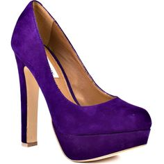 Steve Madden Women's Beasst - Dark Purple Suede (2.615 UYU) ❤ liked on Polyvore featuring shoes, pumps, heels, purple, zapatos, platform, rounded toe, casual, women and block heel