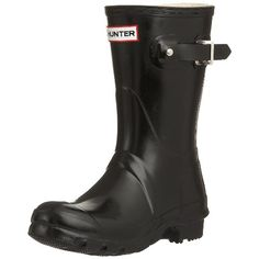 Hunter Original Short Gloss Wellington Boots  Black * Check this awesome product by going to the link at the image.(This is an Amazon affiliate link and I receive a commission for the sales)
