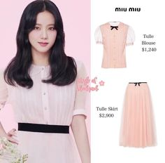 Blackpink Fashion, Kpop Fashion Outfits, Girl Outfits, Fashion Dresses, Blouse Neck Designs, Blouse Styles, Looks Teen, Tulle, Closets
