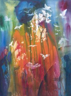 "Ed Labadie; Watercolor, 2011, Painting ""Benevolence"""