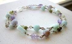Amazonite, Aquamarine, Grossularite Garnet, Blue Opal, Amethyst, and Blue Chalcedony Bracelet of Intuition, Courage, and Optimism by Anais Aine Jewelry, $135.00 USD