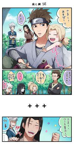 Hashirama and Tsunade Senju with Hiruzen Sarutobi #Naruto