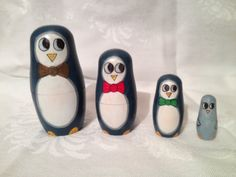 Handpainted Matryoshka Doll Set of 4 by LittleRedBirdStudio
