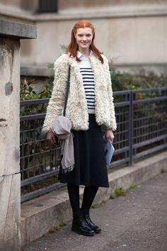 White faux fur & grey full skirt & striped white jamper * white collar.
