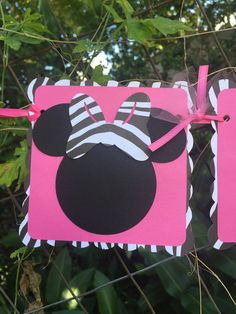 READY TO SHIP  Minnie Mouse Zebra Pink and by MonkeyLimeStudios