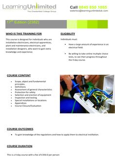 17th Edition, Electrical training course