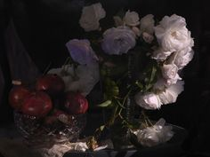 Fiona Pardington Still Life with Wild White Roses, Photographic Beaker and Pomegranates in a cut Crystal Bowl , 2013 Inkjet print on Epson hot press cotton rag Dimensions variable Edition of 10 _______ Autumn Witch, Texture Photography, Artwork Images, Witch Aesthetic, Big Flowers, Flower Photos, Prints For Sale, White Roses, New Art