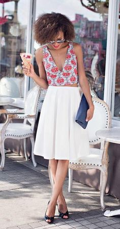 Loving a midi skirt and crop top for summer date night