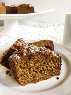 Healthy Pumpkin Coffee Cake - A perfectly moist pumpkin bundt cake with a crunchy brown sugar walnut streusel topping.