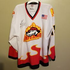 COLUMBIA INFERNO MIKE LEGG MINOR LEAGUE AUTOED HOCKEY JERSEY SIZE XL ADULT