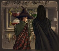 Random fanart I found of Minerva and Severus in front of the Gryffindor and Slytherin hourglasses that keep count of the house points. I really wanted to see those awesome hourglasses in the films.