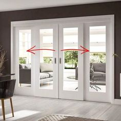 Easi-Slide White Shaker 1 Pane Sliding Door System in Four Size Widths with Clear Glass and sliding track frame. Exterior Sliding Glass Doors, Sliding French Doors, French Doors Patio, Slider Door, White Doors, Room Doors, House Rooms, Home Interior Design, Clear Glass