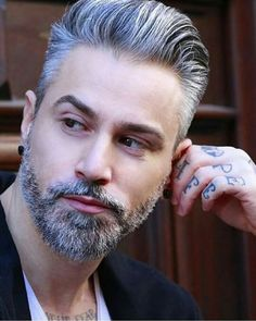 Handsome Gray Haired Man with Beard. He doesn't looks like a straight guy to me but he is very handsome.