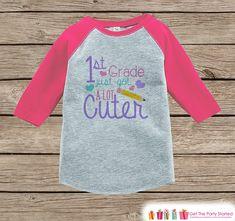 Back to School Shirt - Girls 1st Grade Got Cuter Outfit - Girl Pink Raglan Tee - Kindergarten Graduation Tshirt - First Grade Back to School