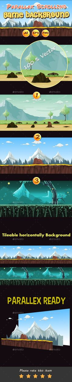 3 Parallax Scrolling Game Backgrounds  - Backgrounds Game Assets