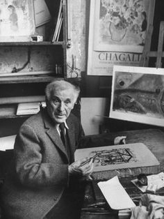 Marc Chagall working lithograph stone, Atelier Mourlot Paris #printmaking