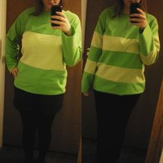 yellow and green sweater chara and asriel Undertale