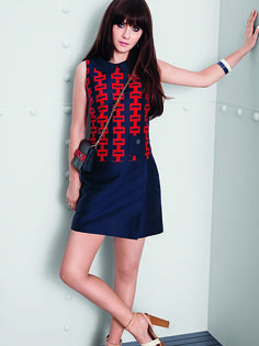 Zooey Deschanel Tommy Hilfiger Collection Geo Print Shift Dress ($150) Photo courtesy of Tommy Hilfiger