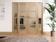 OAK Oslo Pre-finished Room Divider Range: Internal French doors with sidelight options Image