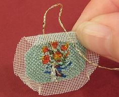Miniature needlepoint tutorial - start stitching at the centre of the silk gauze Cross Stitch Embroidery, Embroidery Patterns, Minis, Barbie Accessories, Needlepoint Kits, Beaded Bags, Diy Doll, Miniature Dolls, Antique Dolls