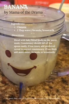 Stage 1 Homemade Baby Foods Mama of the Drama # Baby Puree Recipes, Pureed Food Recipes, Healthy Recipes, Baby Bullet Recipes, Food Storage, Baby Food Recipes Stage 1, Healthy Baby Food, Food Baby, Banana Baby Food