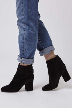 Photo 2 of MONEY Back Zip Velvet Ankle Boots