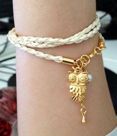 White leather owl bracelet pulseira de couro branco com coruja