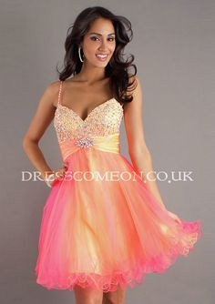 A-line Sweetheart-neck Spaghetti Strap Beaded Bodice Tulle Cocktail Dresses