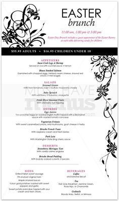 Easter Sunday Lunch Menu Happy Easter Day, Palm Sunday, Lunch Menu, Easter Brunch, Luncheon Menu