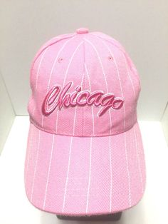 Chicago Pink White Pinstripe Hat Womens Windy Cindy Strapback Baseball Cap   Clothing, Shoes & Accessories, Women's Accessories, Hats   eBay!