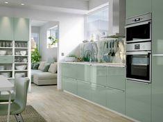 LYSEKIL + KALLARP Range IKEA mint green kitchen cupboard doors