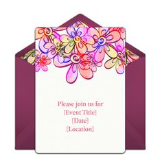 This flower-inspired free party invitation design is a seasonal favorite on Punchbowl. We love it as an invitation for Spring birthdays, tea parties, and more.