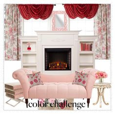 """""""Red and Pink Living Room Area"""" by sparklemeetsclassic ❤ liked on Polyvore featuring interior, interiors, interior design, home, home decor, interior decorating, Country Curtains, Designers Guild, Royal Velvet and Agraria"""