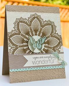 Stampin' Up brocade embossing folder and Hello Doily background stamp. Anewinkonlife.com