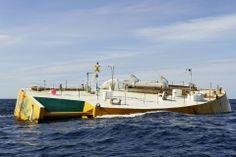 """Wellenenergieanlage """"Penguin"""" der finnischen Firma Wello Oy auf dem Wellenenergie-Testfeld des EMEC bei Stromness, Orkney, Schottland"""