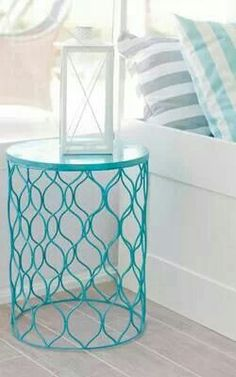 Spray Painted Wastebasket nightstand