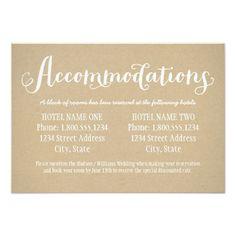 "Hotel Accommodation Card | Kraft Brown 3.5"" X 5"" Invitation Card                                                                                                                                                     More"