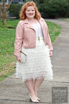"""Blogger Liz (5'4"""" and a size 1x/2x) gives her classic style a feminine edge in a pink leather jacket.  Browse our entire made in the USA collection online at www.kiyonna.com.  #KiyonnaPlusYou"""