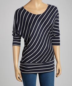 Take a look at this Navy & Gray Diagonal Stripe Top by Zenana on #zulily today!
