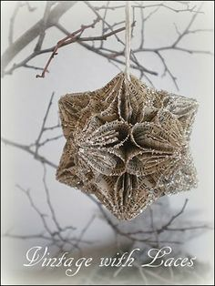 Vintage Paper Christmas Origami Ornament with Silver Glass Glitter