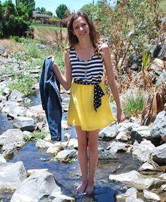 Navy Stripe & Yellow Dress with Polka Dot Tie at Waist