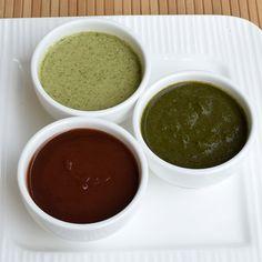 Three most famous North Indian Chutneys that are must for any street food of India.  1. Date and Tamarind (Khajoor Imli ) Chutney 2. Mint Yogurt aka Tandoori Chutney 3. Basic Coriander Mint (Dhania Pudina) Chutney