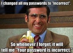 "I changed all my password to incorrect, so whenever I forget, it will me ""your password is incorrect."""
