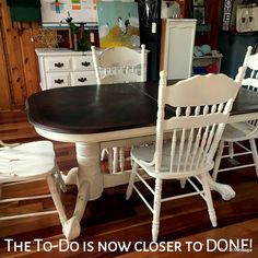 "Re-Invintage Double pedestal table with Dixie Belle Paint Company ""Dropcloth"" on the base and chairs. Oak Table And Chairs, Dining Chairs, Tables, Dining Room, Double Pedestal Dining Table, White Painted Furniture, Dixie Belle Paint, Mineral Paint, Diy Projects To Try"