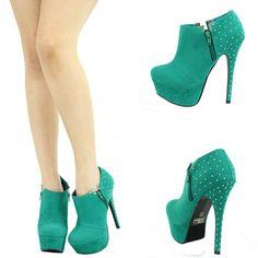 Sea Green Jeweled Stud High Heel Platform Stiletto Womens Boot Booties Pump Sz 9 | eBay