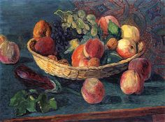 Hans Purrmann - Still Life of Fruit by Irina  Hans Marsilius Purrmann was a German artist. He was born in Speyer where he also grew up. He completed an apprenticeship as a scene painter and interior decorator, and subsequently studied in Karlsruhe and Munich before going to Paris in 1906.