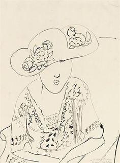 Henri Matisse (French, Fauvism, 1869-1954). n.d., Femme au chapeau, Plume et encre de Chine sur papier